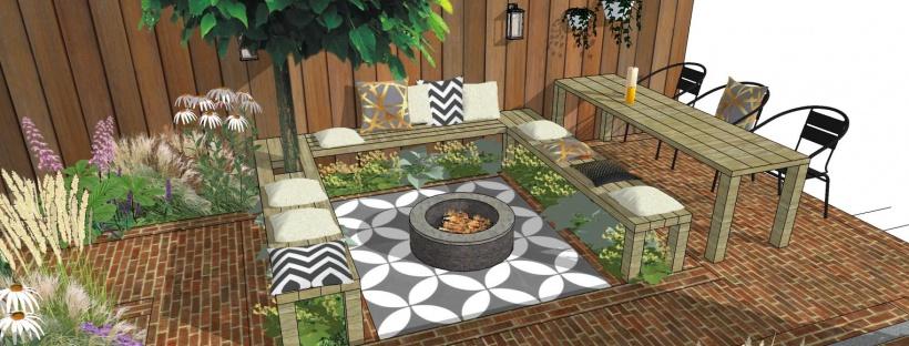 klassieke stadstuin kleine tuin bank