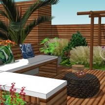 tropische tuin aan het water loungeplek